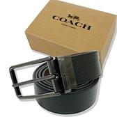 【COACH】霧黑金屬素面牛皮寬版男款中性皮帶禮盒(黑)