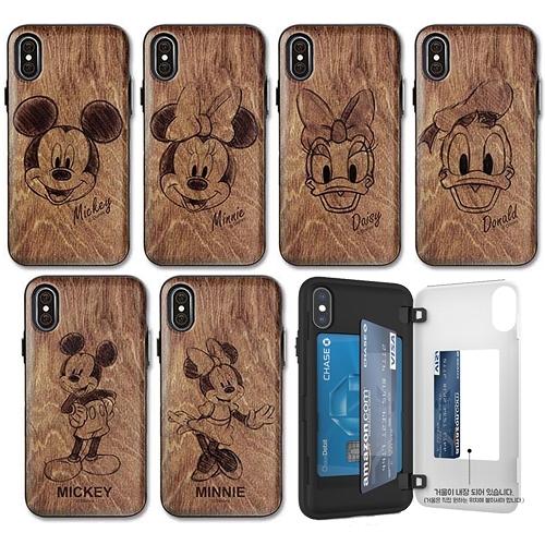 迪士尼 仿木紋 手機殼│側開卡夾│S8 S9 S10 S10E S20 Ultra Note8 Note9 Note10│z8908