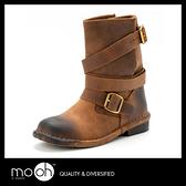 中筒靴工程靴 / 歐美時尚真皮百搭 兩穿機車靴 牛皮 棕色 黑色 短靴 mo.oh (歐美鞋款)