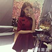 旗袍春秋女裝韓版裙子名媛盤扣復古小禮服收腰顯瘦洋裝 時尚潮流