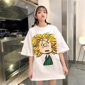 長款T恤 ins半袖上衣學生韓版寬鬆百搭ulzzang2018印花bf原宿風短袖t恤女 芭蕾朵朵