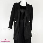 【SHOWCASE】優雅毛料混紡開襟長版針織外套(黑)