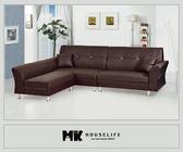【MK億騰傢俱】AS032-12雙子星咖啡色L型沙發組
