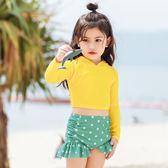 韓國兒童泳衣女防曬分體長袖溫泉時尚可愛女童2019新款度假游泳衣