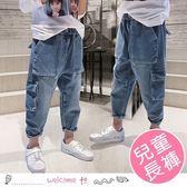 男童春款多口袋寬鬆牛仔褲 工裝褲