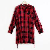 【MASTINA】方格紋長版襯衫-紅   秋裝限定嚴選