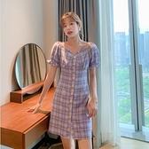 洋裝短袖裙子甜美S-XL新款梗桔連身裙法式新款仙女風泫雅風裙子H325-9092.胖胖唯依
