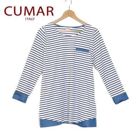 【南紡購物中心】【CUMAR】休閒拼接條紋上衣-白