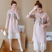 孕婦洋裝裝秋冬保暖裝保暖韓國蕾絲拼接中長版孕婦洋裝毛衣連身裙洋裝針織打底衫
