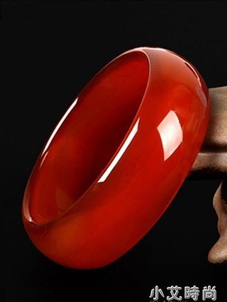 天然正品玉鐲子巴西紅瑪瑙手鐲女少女加寬版窄版紅色旺夫真玉手鐲 小艾新品