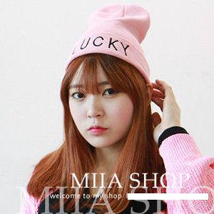日本原宿zipper風lucky字母冰淇淋色針織毛線帽-4色/單售