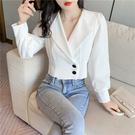 VK精品服飾 韓系西裝V領雙排釦小西裝外套單品長袖上衣