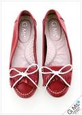 G.Ms. 軟Q綿繩蝴蝶結牛皮莫卡辛豆豆鞋-紅色