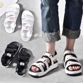羅馬涼鞋涼鞋女學生夏新款平底百搭韓版沙灘鞋港味女鞋潮快速出貨下殺75折