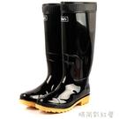 雨鞋高筒黑色釣魚鞋男士防水鞋防滑套鞋夏季牛筋底雨靴男「時尚彩紅屋」