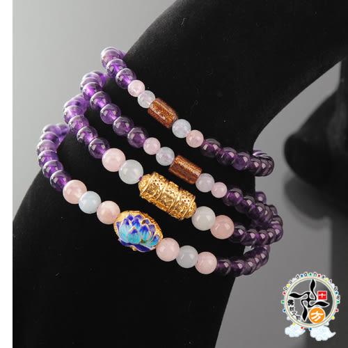 摩根石+紫晶108念珠5mm 【 十方佛教文物】