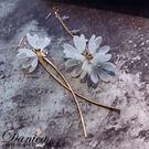 耳環 現貨 韓國浪漫仙女幾何花朵水晶不對...