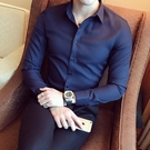 商務休閒長袖襯衫男士正裝韓版修身潮流帥氣抗皺黑色春季短袖襯衣【快速出貨】