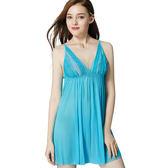 思薇爾-海洋派對系列蕾絲性感連身小夜衣(沁波藍)