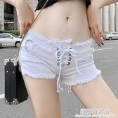 性感DJ潮流超短性感低腰破洞流蘇緊身熱褲白色牛仔短褲女 極簡雜貨