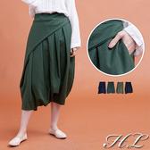 .HL超大尺碼.【19060002】特色剪裁修飾後鬆緊褲裙 4色