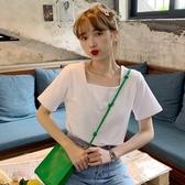 白色方領短袖T恤女ins潮2020年新款寬松韓版百搭純棉短款上衣服夏