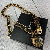 BRAND楓月 CHANEL 香奈兒 1994年 A01246 Vintage 黑金 重工金幣皮穿繩 腰鍊 項鍊