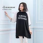 長版上衣--夏日個性風印字拉克蘭連袖玫瑰絨棉質寬版長上衣(黑XL-4L)-U464眼圈熊中大尺碼