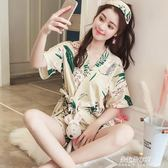和服睡衣日繫和服睡衣女夏季純棉短袖韓版清新學生家居服兩件套可外穿套裝  朵拉朵衣櫥