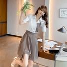 VK精品服飾 韓系襯衫不對稱字母撞色半身裙套裝短袖裙裝