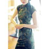 老上海復古文藝亞麻長款旗袍春夏新款優雅連身裙女慕南igo