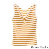 「Hot item」 橫條紋蕾絲包邊背心 - Green Parks