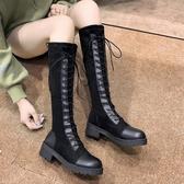 長筒靴 2019秋季新款粗跟高筒靴騎士靴百搭ins網紅彈力瘦瘦靴 麻吉鋪