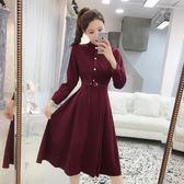 洋裝 新款韓版絨面時尚立領收腰顯瘦純色連身裙溫柔中長裙潮