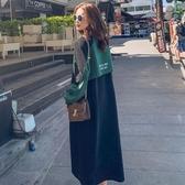 魚尾裙 早秋裝女流行新款法式長裙寬鬆魚尾錬子連帽T恤裙長款洋裝【免運直出】