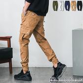 吊飾縮口褲 休閒褲【T88902】OBIYUAN 側邊口袋彈性長褲 工作褲 共5色