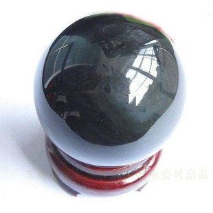 珠寶天然黑曜石球帶底座
