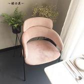 新品簡約電腦休閒椅單人金屬布藝沙發餐廳椅設計師咖啡廳梳妝臺椅【櫻花本鋪】