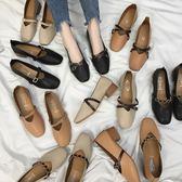 女鞋2019新款春季奶奶鞋粗跟單鞋2018韓版春秋百搭中跟豆豆鞋子女 one shoes