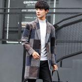 雙十二狂歡購2018秋冬新款男士毛呢外套韓版修身中長款青年風衣英倫格子呢大衣熊貓本