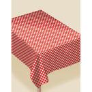 春天 餐具 塑膠桌巾-紅格紋