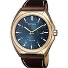 CITIZEN 星辰 光動能紳士手錶-藍x咖啡/41mm AW1573-11L