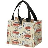 小禮堂 史努比 方形不織布便當袋 野餐袋 手提袋 (米紅 LOGO) 4973307-49548