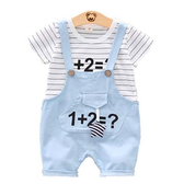 短袖套裝 數字卡通 1+1=2 條紋 棉質上衣 + 吊帶褲 寶寶童裝 CK11757 好娃娃