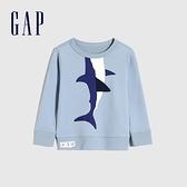 Gap男幼童 碳素軟磨系列 法式圈織互動趣味休閒上衣 852244-淺藍色