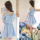 洋裝 連衣裙 韓版學生甜美氣質連衣裙 淑女露肩娃娃領蝴蝶結裙子