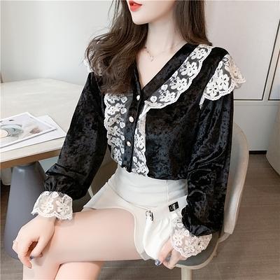 長袖襯衫~長袖襯衫~1326法式復古絲絨花邊方領襯衫女洋氣長袖上衣NE23828莎菲娜