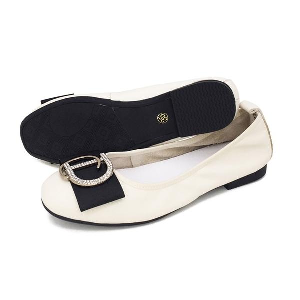 W&M (女)圓頭蝴蝶D鑽 娃娃鞋 平底鞋 女鞋 -米(另有黑)