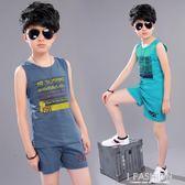 男童夏裝背心套裝帥氣2018新款夏季中大兒童裝男孩短褲運動兩件套-Ifashion