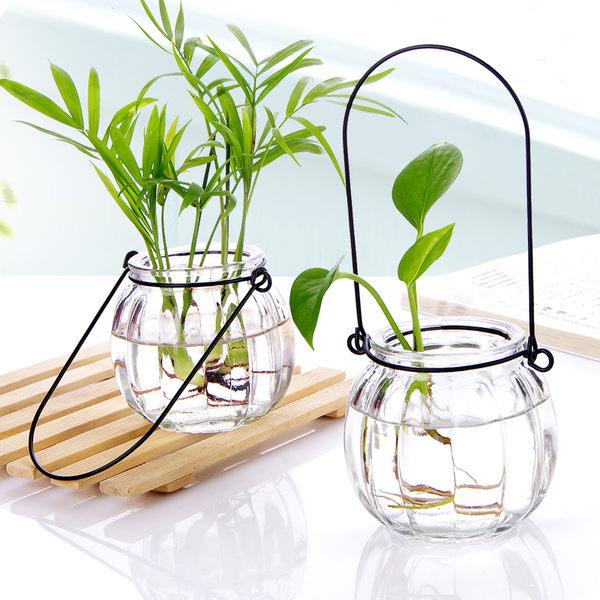 懸掛式透明玻璃花瓶 小南瓜吊瓶 簡約水培花器室內園藝家居裝飾